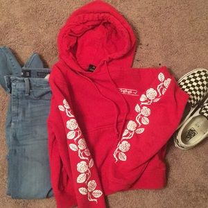 XS red obey hoodie